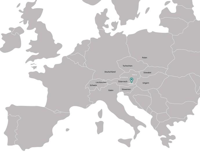 Karte, welche den Ort zeigt in welchem die Sole-Wasser/Wärmepumpe installiert ist