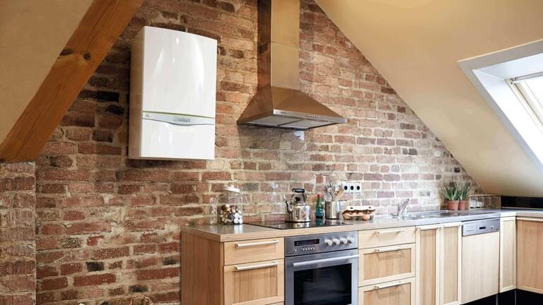 Wandhängende Gastherme in der Küche