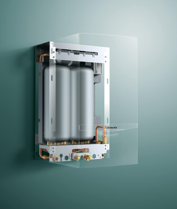 X-Ray Ansicht des Vaillant Kombiheizgeräts ecoTEC System actoSTOR vor grünem Hintergrund