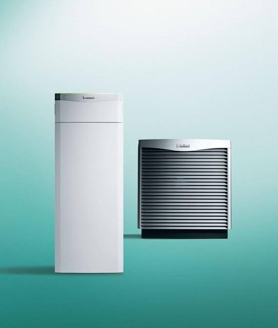 Vaillant Wärmepumpe flexoTHERM exclusive mit Luft-Außengerät aroCOLLECT vor grünem Hintergrund