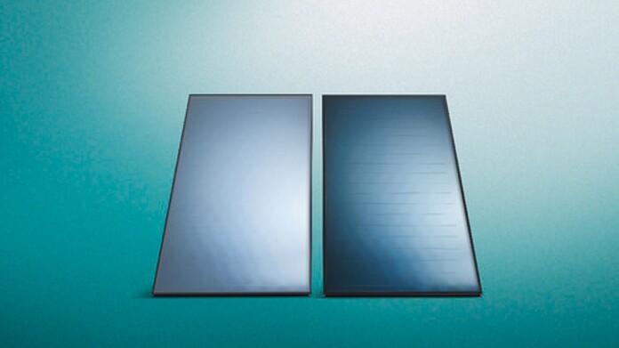 Vaillant Solarthermie Produkte vor grünem Hintergrund