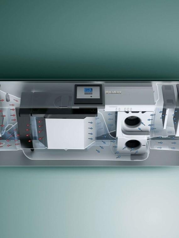 X-Ray Ansicht des Vaillant Lüftungsgeräts recoVAIR VAR 150