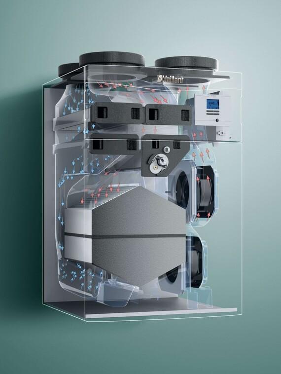 X-Ray Ansicht des Vaillant Lüftungsgeräts recoVAIR VAR 4