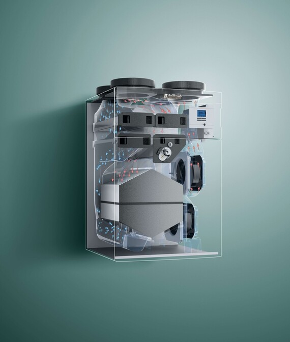 X-Ray Ansicht des Vaillant Lüftungsgeräts recoVAIR VAR 4E