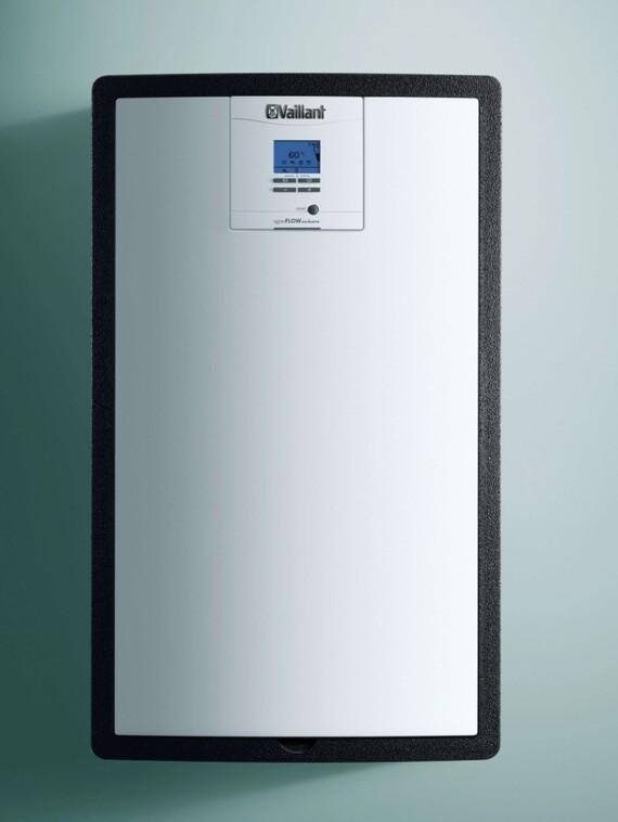 Vaillant Trinkwasserstation aguaFLOW exclusiv vor grünem Hintergrund