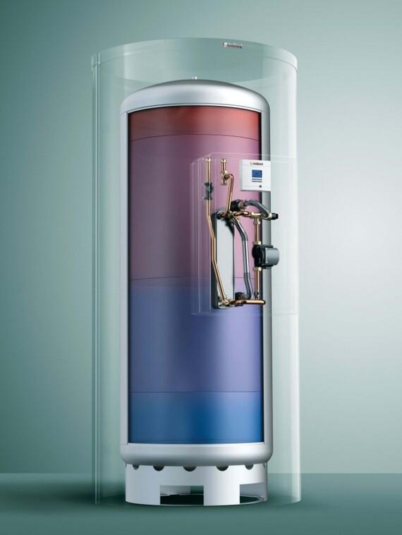 X-Ray Ansicht der Vaillant Trinkwasserstation aguaFLOW exclusiv montiert auf allSTOR exclusiv