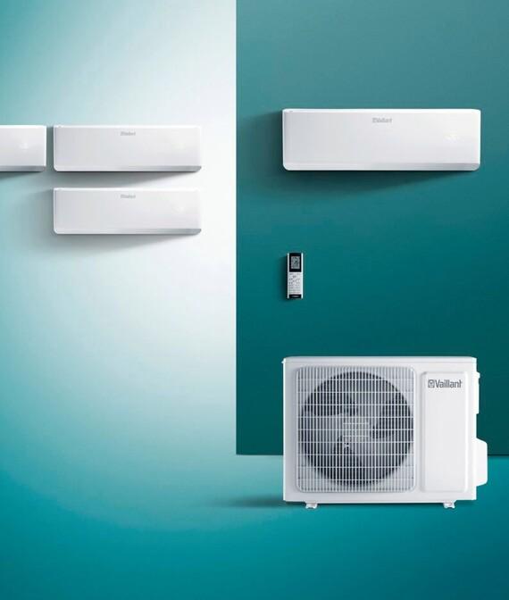Vaillant Multi-Split climaVAIR Außengerät, Innengeräte und Fernbedienung