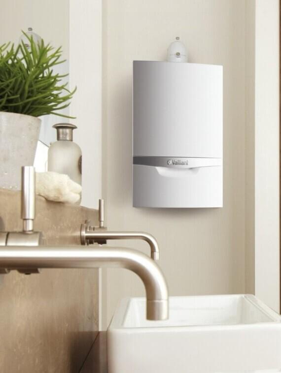 Wandheizgerät ecoTEC exclusive VC mit Wärmegarantie-plus im Badezimmer in Szene gesetzt