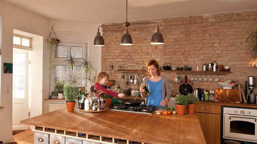 Küche Schritt Mutter Tochter Schritt Für