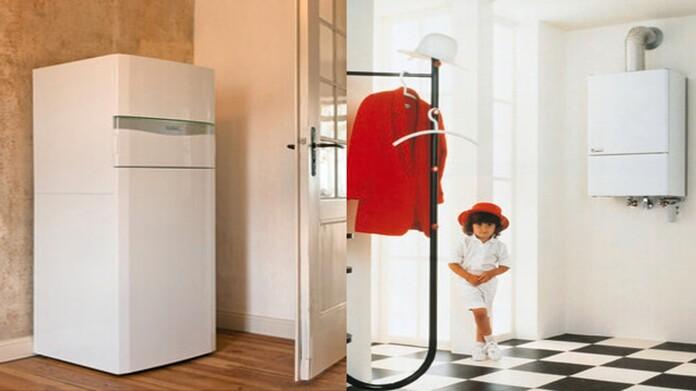 Gegenüberstellung eines Vorraumes mit einer Wärmepumpe und einem alten wandhängenden Gasheizgerätes